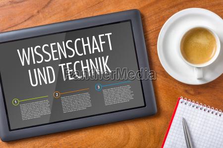 tablet on a desk science
