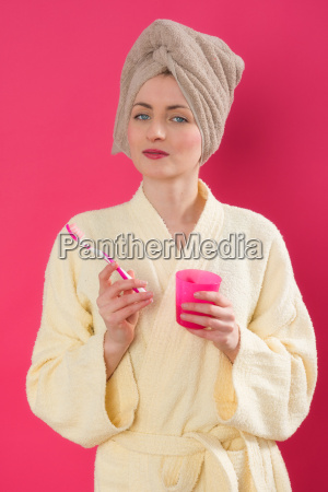 arrogant woman with towel turban and