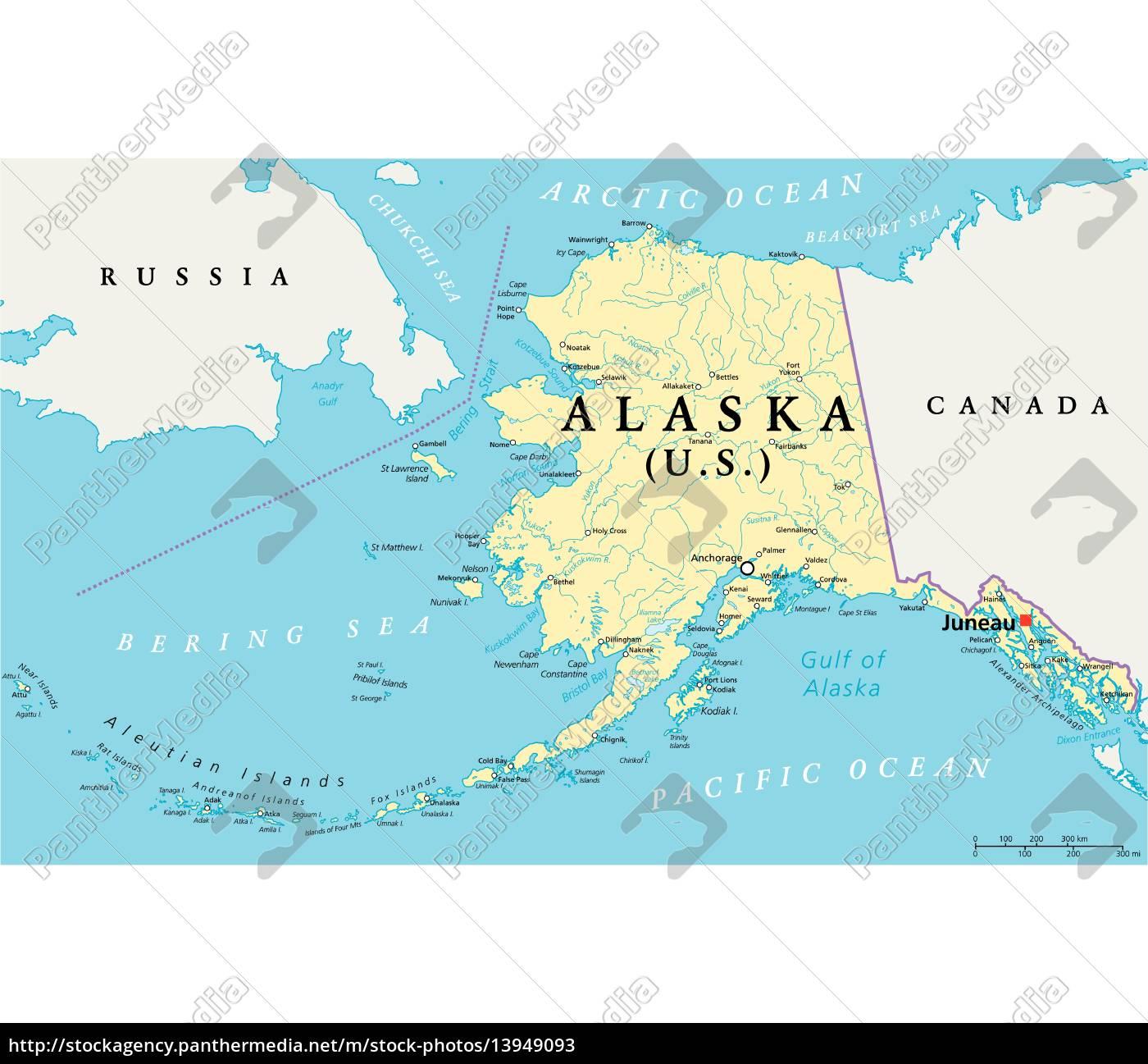 alaska karte alaska politische karte   Lizenzfreies Bild   #13949093