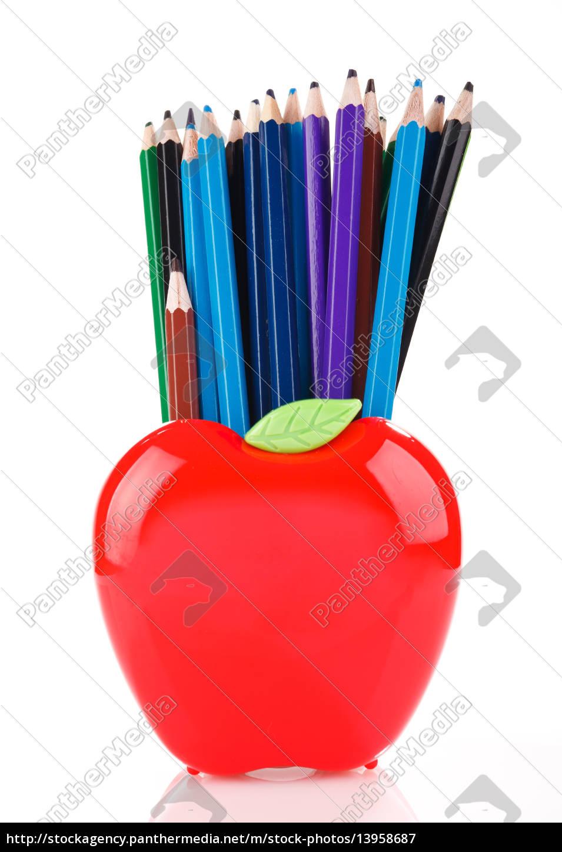 farbstifte, in, apfelförmigem, ständer - 13958687
