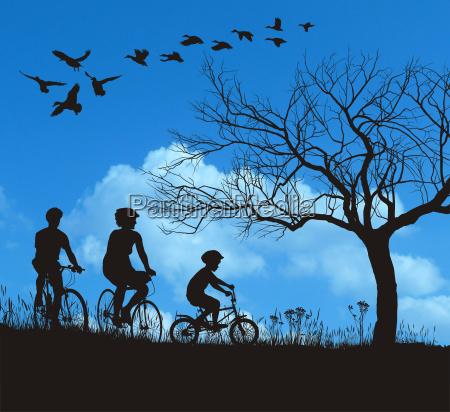 vector familienradfahren auf dem land