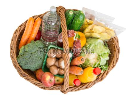 einkaufskorb mit lebensmitteln obst und gemuese
