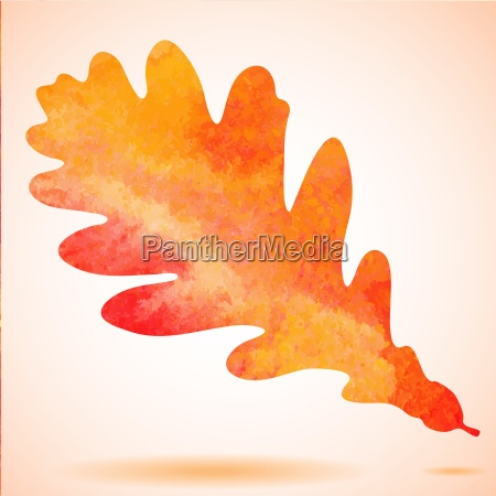 orange watercolor painted vector autumn oak