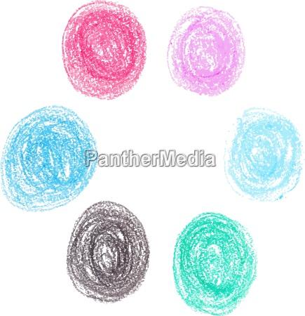 set of wax crayon circle spots