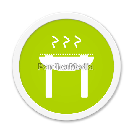 runder gruener button mit grill symbol