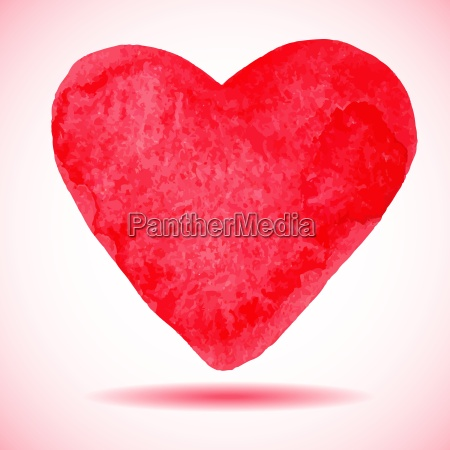 hand drawn painted red heart vector