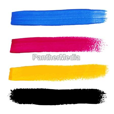 cmyk farben vektor acryl flecken