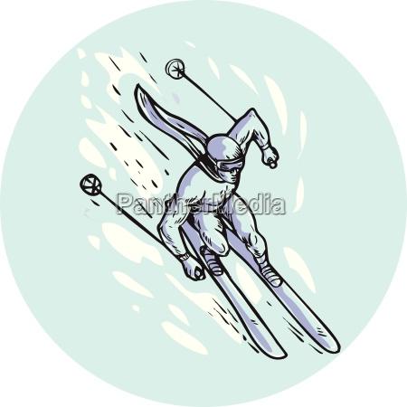 skifahren slalom circle etching