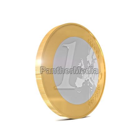 euro muenze auf weiss