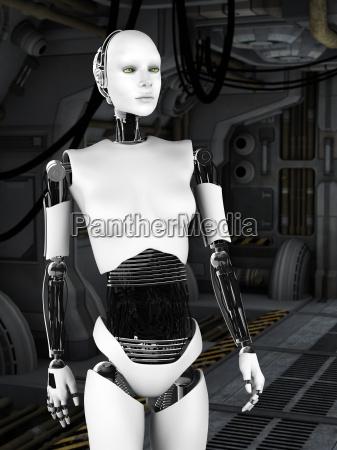 roboter frau in sci fi flur