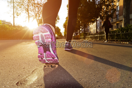 woman running in the street
