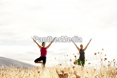 zwei weibchen ueben yoga im freien