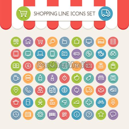 shopping line round icons set