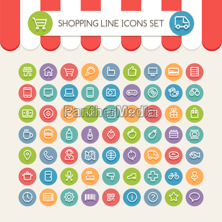 shopping, line, round, icons, set - 13981683