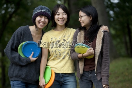 portrait of three young asian american