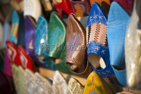 a detail of traditional moroccan shoes