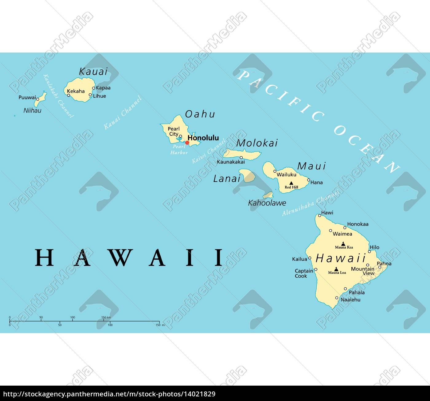 karte hawaii hawaii inseln politische karte   Stockfoto   #14021829