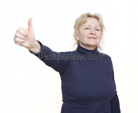 woman thumbs up isolated