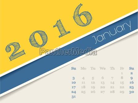 simplistic januar 2016 kalender design