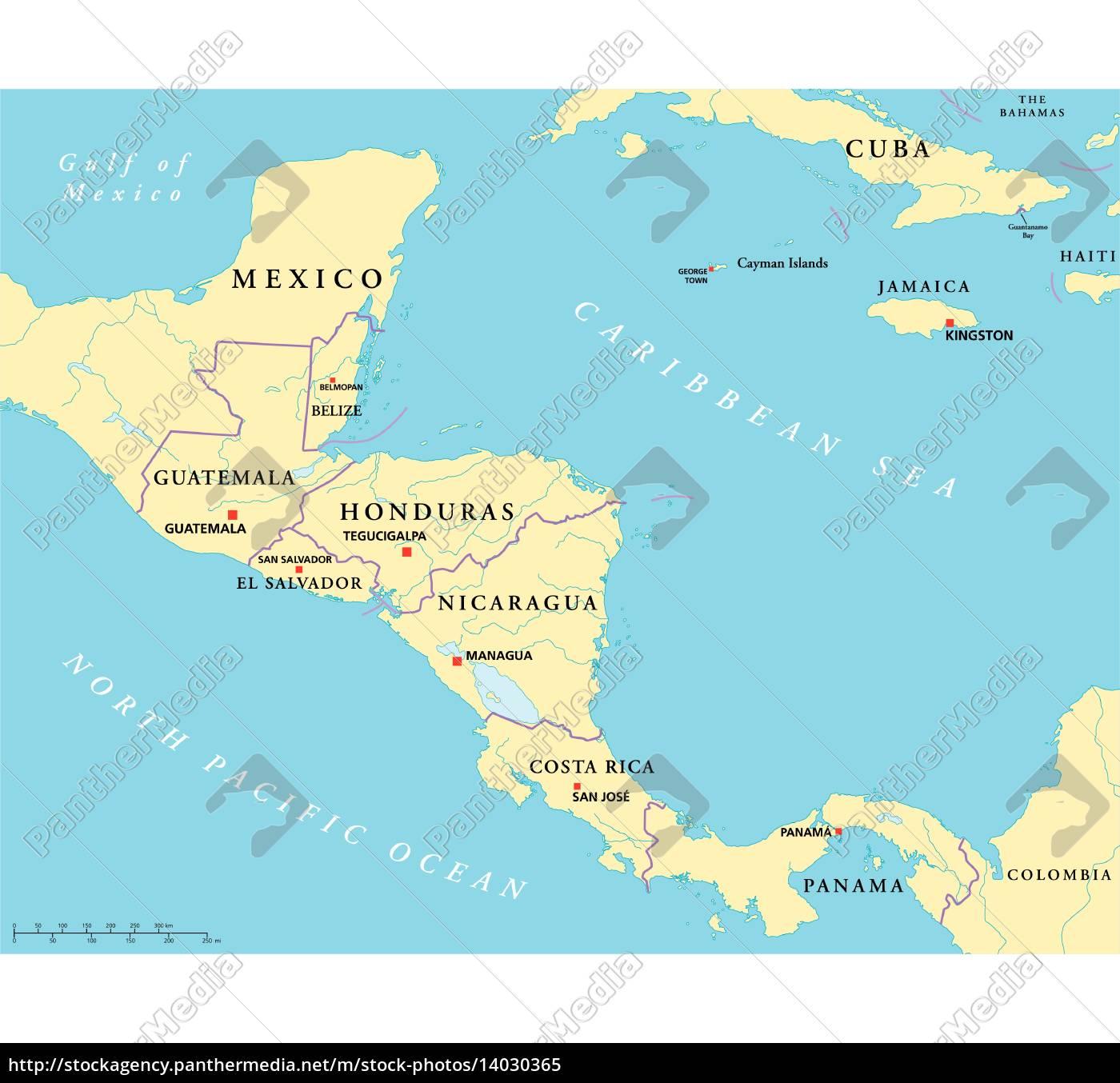 Costa Rica Karte Mittelamerika.Lizenzfreie Vektorgrafik 14030365 Mittelamerika Politische Karte