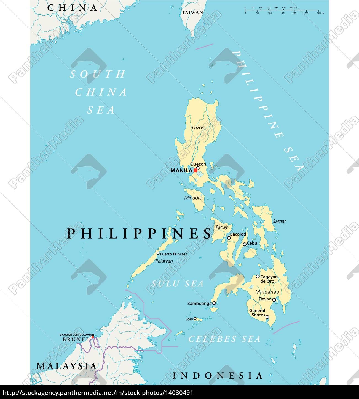Philippinen Politische Karte Lizenzfreies Bild 14030491