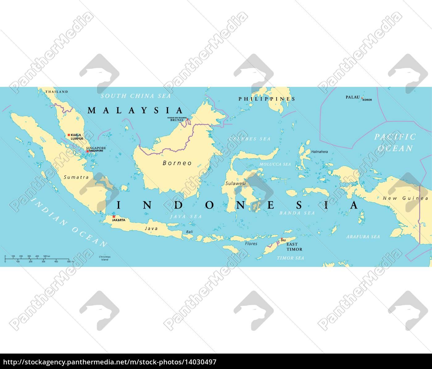 Indonesien Karte.Lizenzfreie Vektorgrafik 14030497 Malaysia Und Indonesien Politische Karte