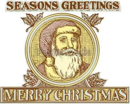weihnachtsmann vater weihnachten holly radierung
