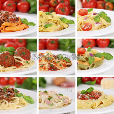 italian food collage spaghetti pasta dishes