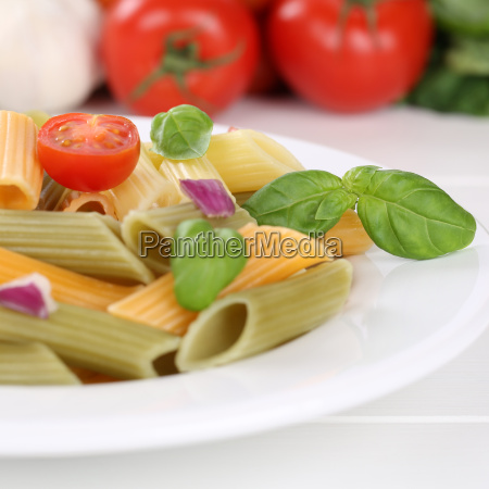 italian food colorful penne rigate pasta