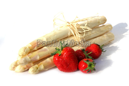 bunch of asparagus and strawberries