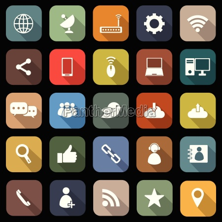 netzwerk flache ikonen mit langen schatten