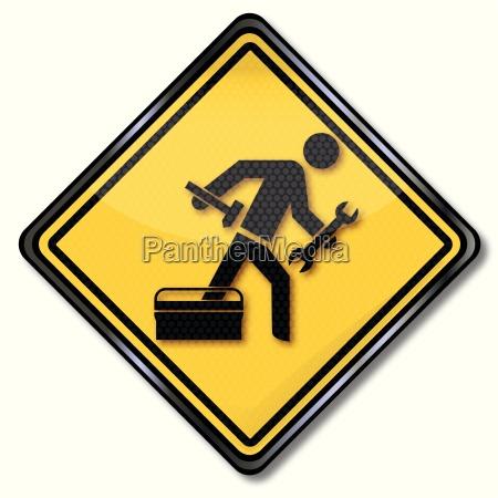 schild mit reparateur hammer handwerker und