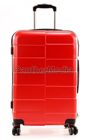grosse rote reisen koffer isoliert auf