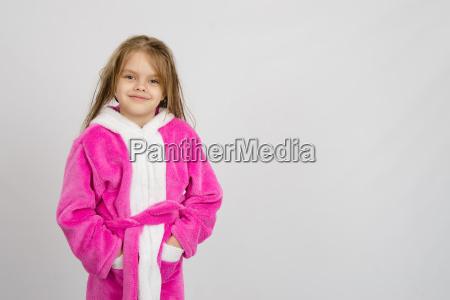 six year old girl in bathrobe