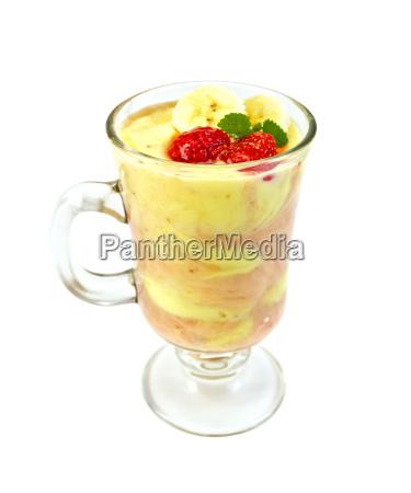 dessert milk with strawberries and banana