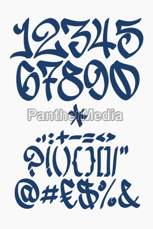 zahlen und symbole graffiti schrift