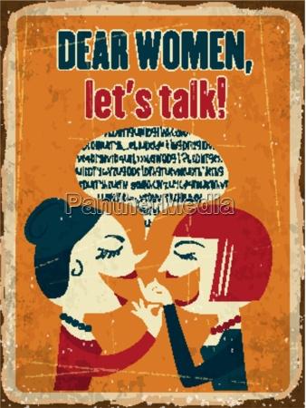 retro metal sign dear women lets