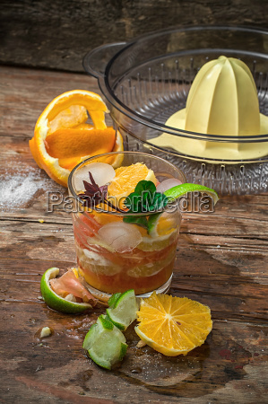 fresh juice of tropical citrus fruits