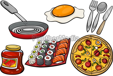 kitchen and food objects cartoon set