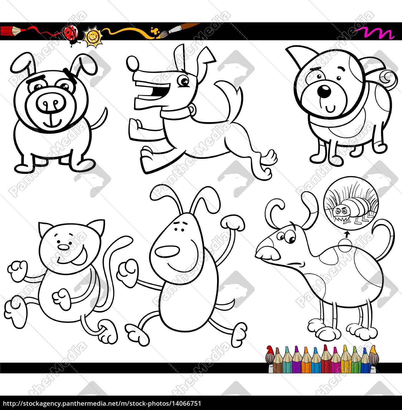 dogs set cartoon malvorlagen - stockfoto - #14066751