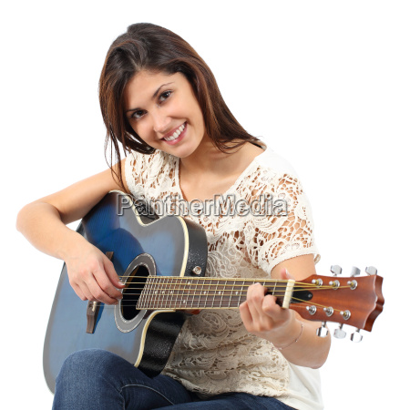 musician woman playing guitar in a