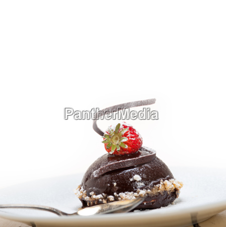 fresh chocolate strawberry mousse