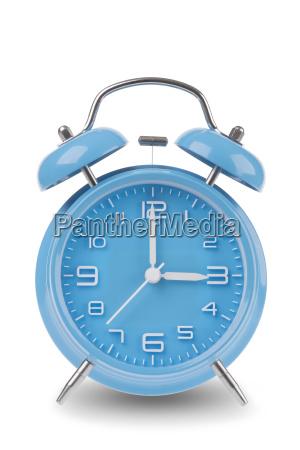 blue alarm clock isolated on white