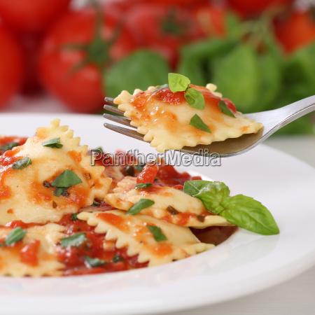 italian food ravioli pasta with tomato
