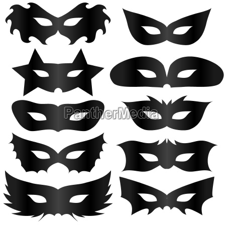 schwarze silhouetten masken sammlung auf weissen