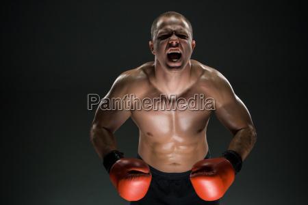 muskuloeser schreiender und bruellender mann