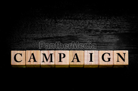 word campaign isolated on black background