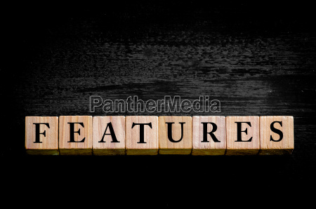 word features isolated on black background