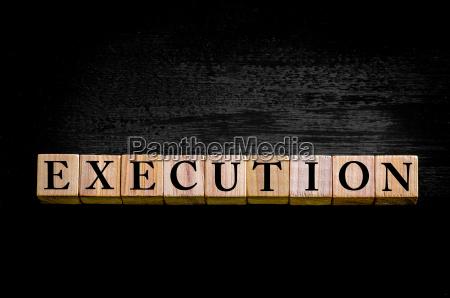 word execution isolated on black background