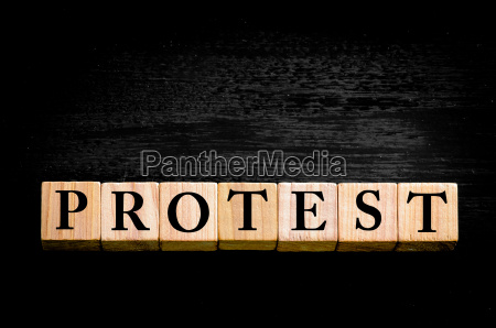 word protest isolated on black background